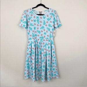 NWT LULAROE Blue Green Lady bug Amelia Dress XL